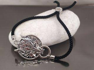 Браслет Дракон на черном шнурке, цвет серебро