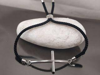 Браслет Крест стальной на черном шнурке