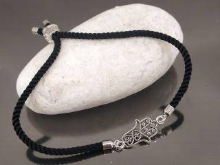 Браслет Хамса на черном шнурке, цвет серебро