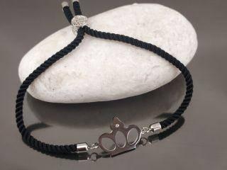 Браслет Корона с кристаллом на черном шнурке, цвет серебро