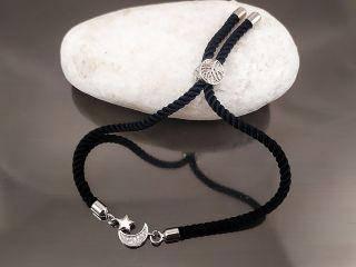 Браслет Луна и Звезда Milano на черном шнурке, цвет платина