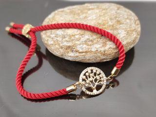 Браслет Древо жизни Милано на красном шнурке, цвет золото