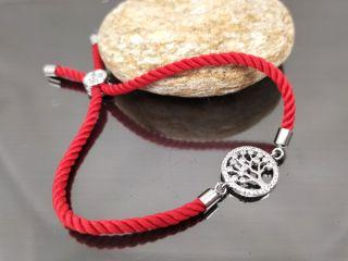 Браслет Древо жизни Милано на красном шнурке, цвет платина