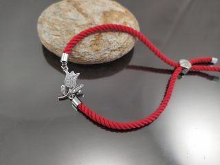 Браслет Тюльпан Milano на червоному шнурку, колір платина