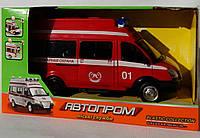 """Машина на батарейках світло,звук ,об.двері Пожежна """"Автопром"""" міські служби, в коробці 7807MR"""