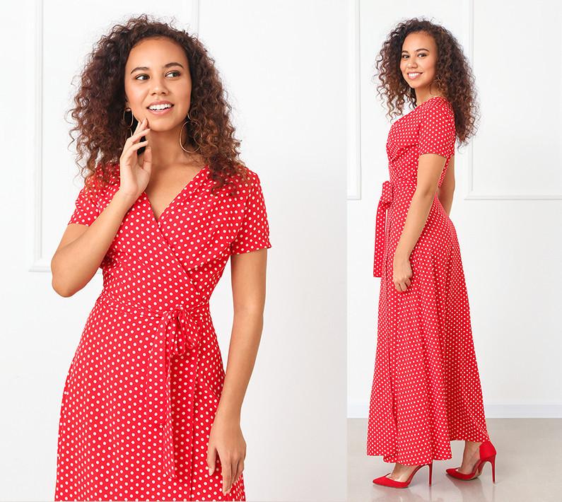 Платье женское красное в белый горох в пол на запах с поясом летнее