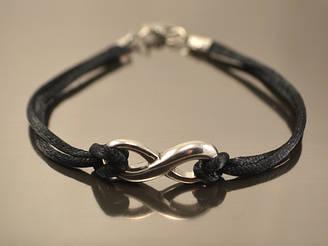 Шелковый браслет от сглаза Бесконечность, черный
