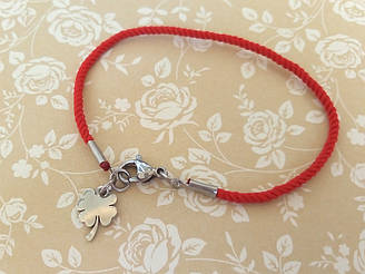 Защитный шелковый браслет на удачу подвеска Клевер