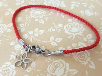 Красный шелковый браслет Цветок