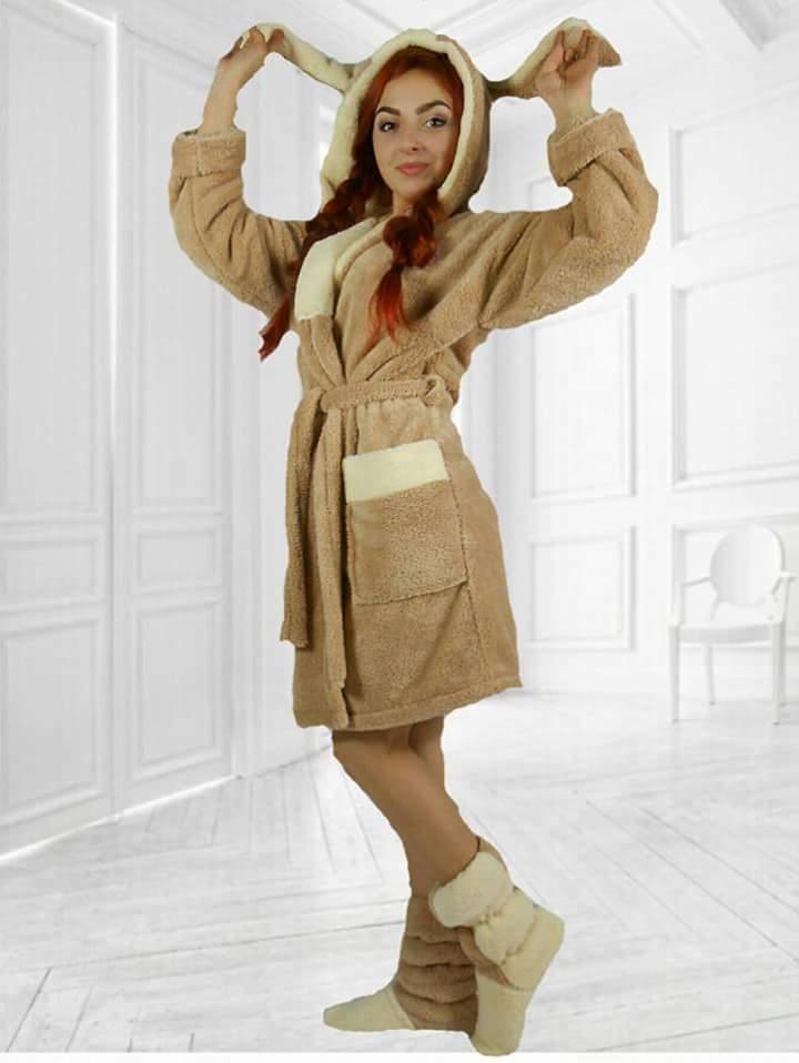 Набор женский домашний халат и сапожки махра-велсофт