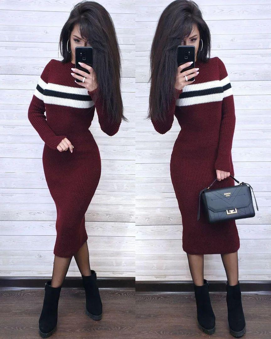 Платье теплое машинная вязка с полосой и рукавом макси