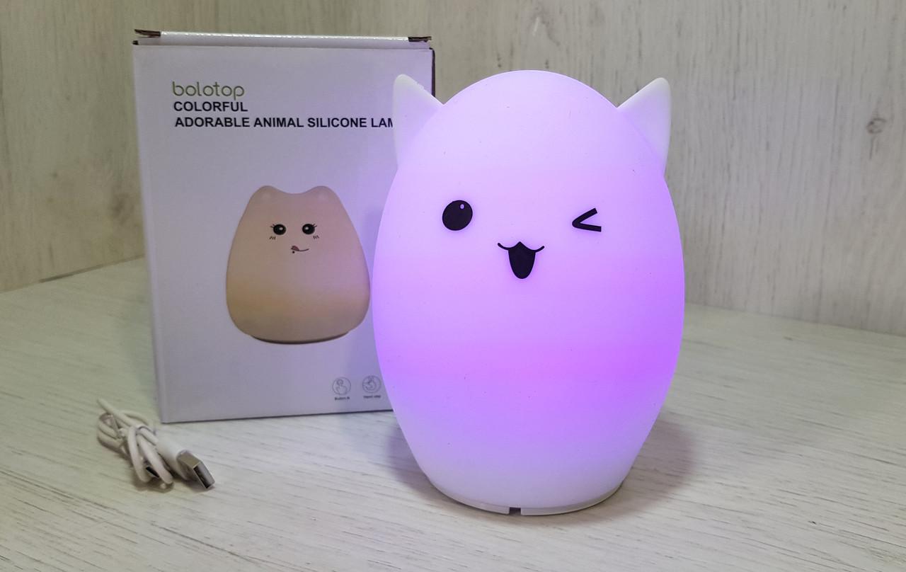 Светильник ночник Cat Silicone Кот силиконовый антистрес ЛАМПА.