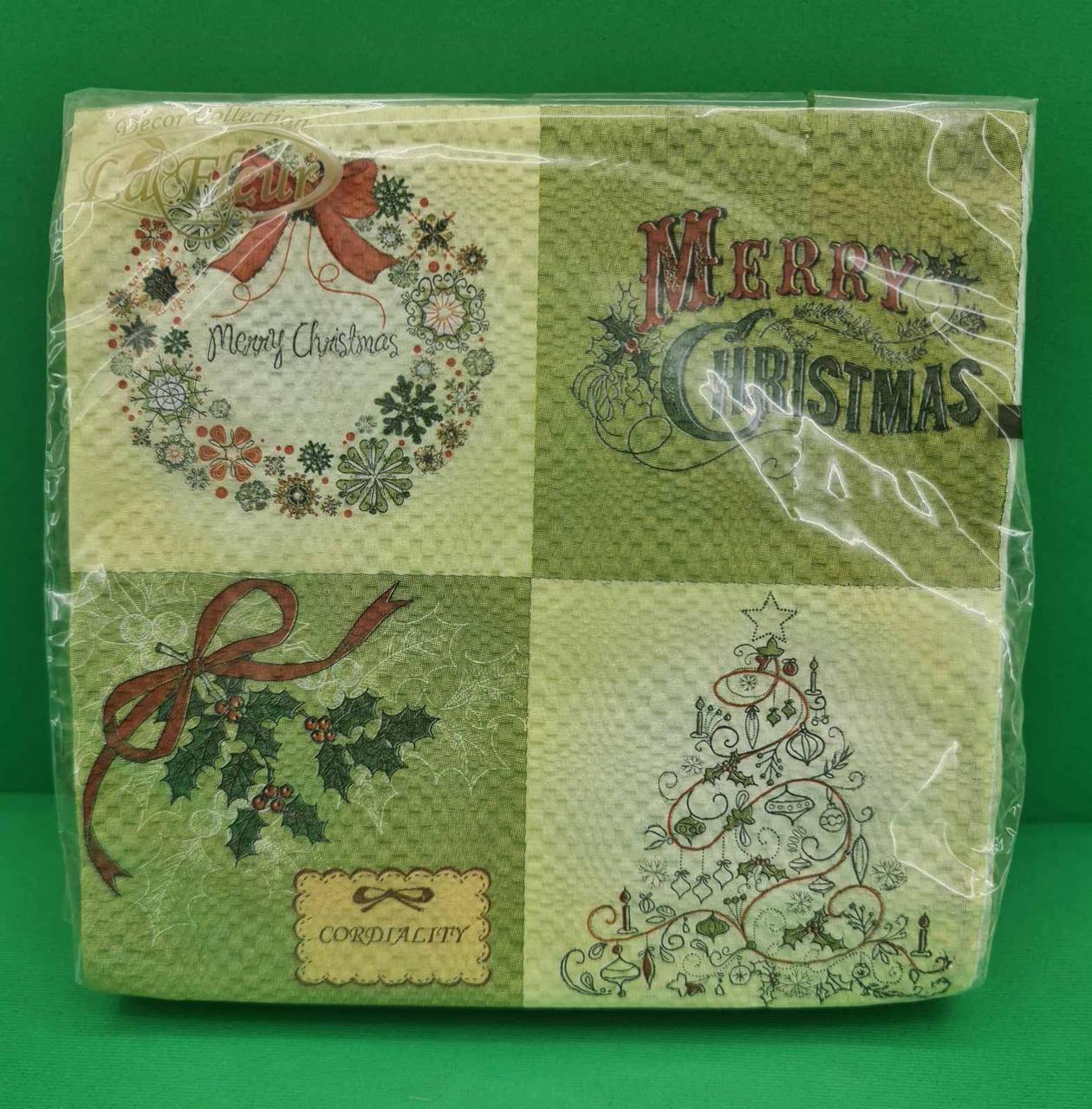 Салфетки бумажные декоративные (ЗЗхЗЗ, 20шт)  La FleurНГ Винтажная елка (110) (1 пач)