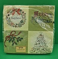 Салфетки бумажные декоративные (ЗЗхЗЗ, 20шт)  La FleurНГ Винтажная елка (110) (1 пач), фото 1