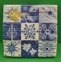 Салфетки бумажные праздничные сервировочные Luxy Новогодний коллаж
