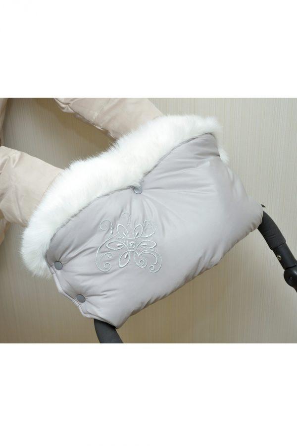 Муфта теплая для коляски с опушкой серая с серебристым принтом