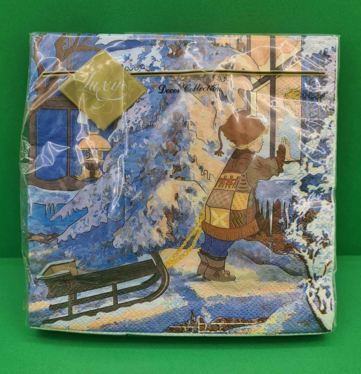 Салфетки бумажные праздничные Luxy За окном