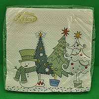 Салфетки двухслойные бумажные с рисунком (ЗЗхЗЗ, 20шт)  La FleurНГ Снеговик-озорник (116) (1 пач)
