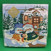 Салфетка праздничная цветная Luxy Веселые снеговики