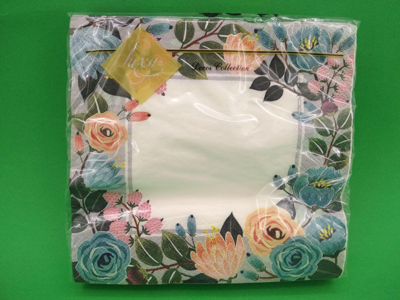 Салфетка (ЗЗхЗЗ, 20шт) Luxy  Рамка из цветов(1239) (1 пач)