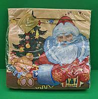 Салфетки столовые (ЗЗхЗЗ, 20шт) LuxyНГ Дед мороз и медвежонок(1230) (1 пач), фото 1
