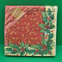 Серветки столові тришарові Luxy Новорічна класика
