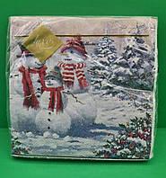 Серветка декоративна з малюнком Luxy Родина сніговиків