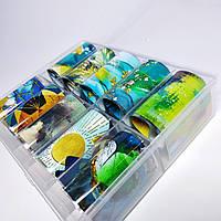Фольга  в контейнере для литья и дизайна ногтей набор 10шт