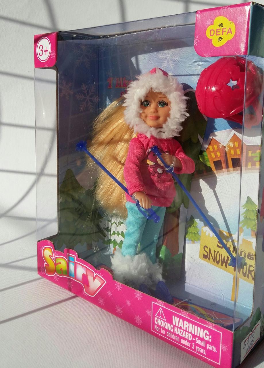 Кукла Defa Lucky в зимней одежде 8310 12,5см, лыжи, обувь, шлем, в коробке, 15-16,5-6см