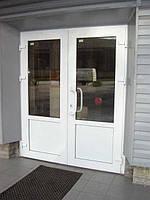 Двери металлопластиковые, входные, двойные