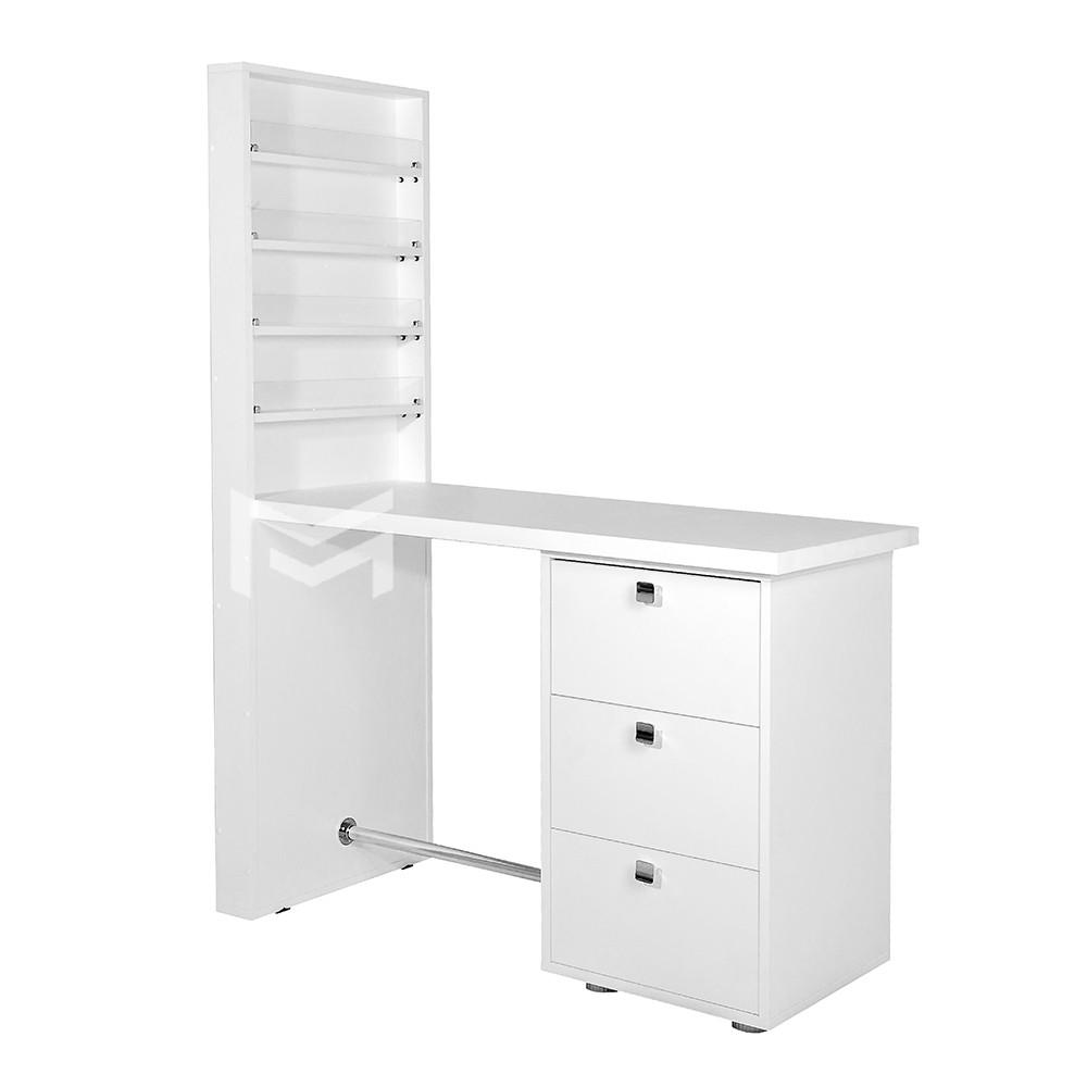 Маникюрный стол на 3 выдвижных ящика + надстройка 4 полки для лаков для маникюрного кабинета  М119