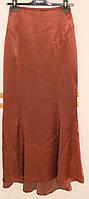 Праздничная юбка в пол из тяжелого терракотового шелка Hexe line