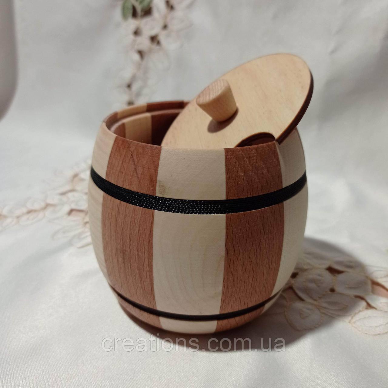 Дерев'яний бочонок для меду, цукру, солі, спецій 11х11 см. Б-1