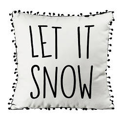 Подушка из мешковины с помпонами Let it snow 45x45 см (45PHBP_21NG012)