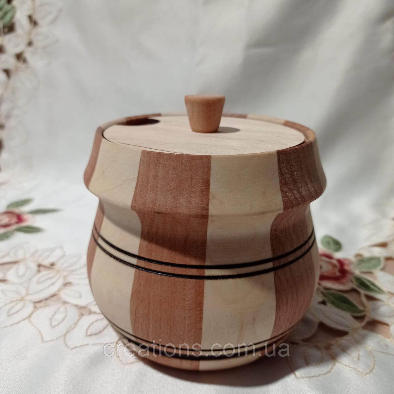 Деревянный бочонок для меда, сахара, соли, специй 11х11 см. 400 мл. Б-2