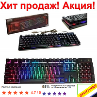 Профессиональная игровая клавиатура с подсветкой клавиш LANDSLIDES KR-6300 USB для компьютера ноутбука