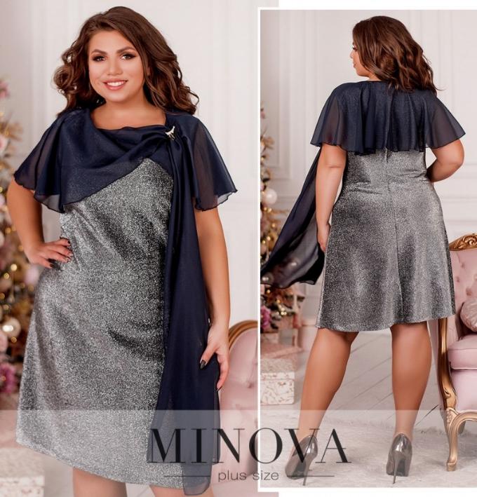 Романтичное платье плюс сайз с подшитой на плечах лёгкой накидкой Размеры: 48-50, 52-54. 56-58