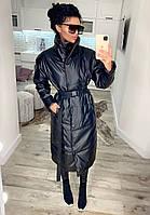 Молодіжні довгі куртки жіночі, куртка еко шкіра