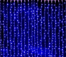 Светодиодная гирлянда штора СИНИЙ водопад 3м * 3м IP44 прозрачный провод ECOLEND