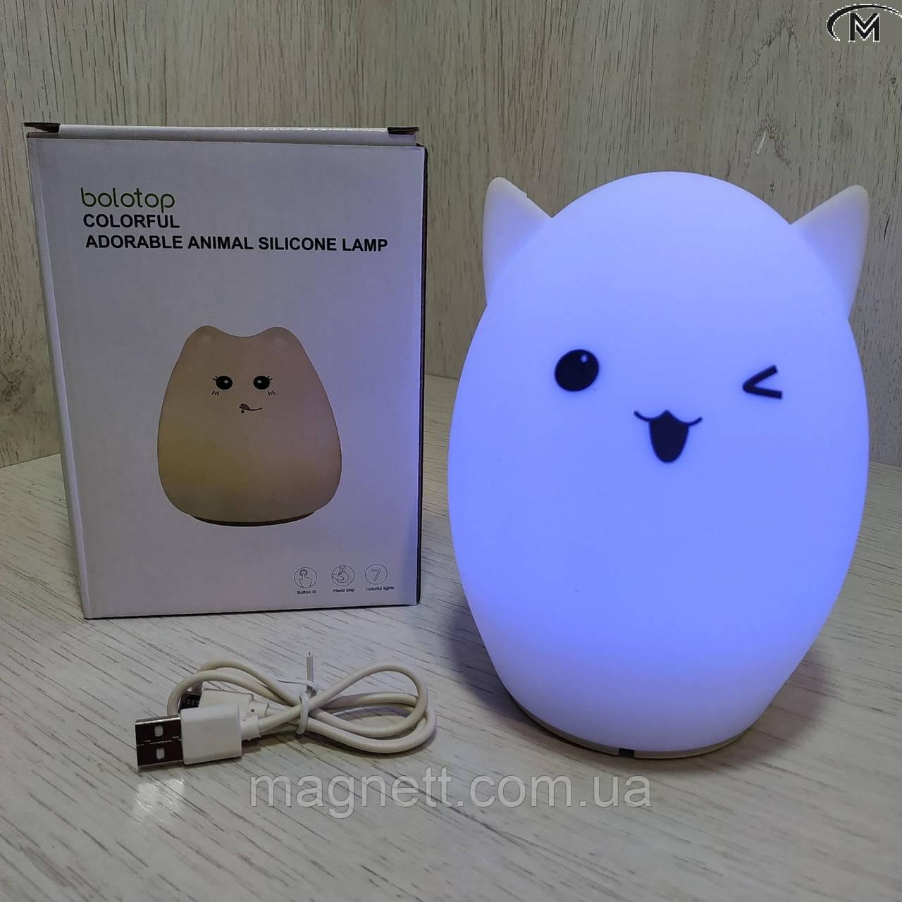 Силиконовый ночной светильник Котик (7 цветов свечения)