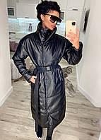 Молодіжні довгі куртки жіночі, куртка еко шкіра Чорний