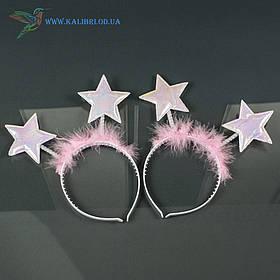 Новорічний обруч Зірки рожеві НМ-963