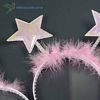 Новорічний обруч Зірки рожеві НМ-963, фото 2