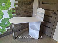 Компактный стол для маникюра с полочками,Маникюрный стол двухцветный с фигурной столешницей. Стол для маникюра