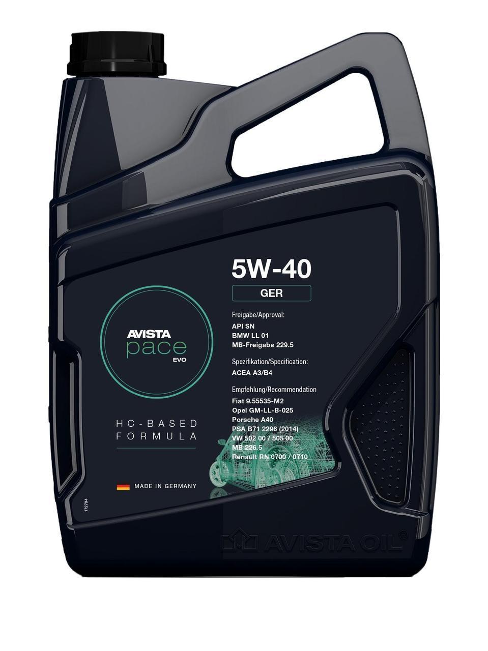 Моторное масло AVISTA pace GER SAE SAE 5W40, кан 5л