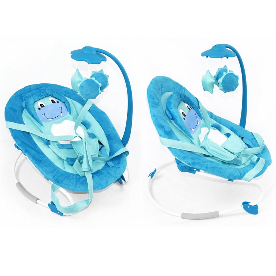 Детский стульчик шезлонг для малыша BT-BB-0002 BLUE с регулировкой спинки и музыкальным мобилем, голубой