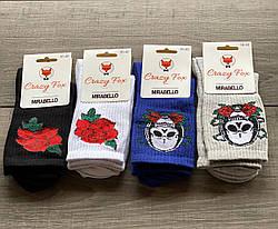 Носки с розами женские высокие Mirabelloстрейчевые36-40 12 шт в уп микс цветов