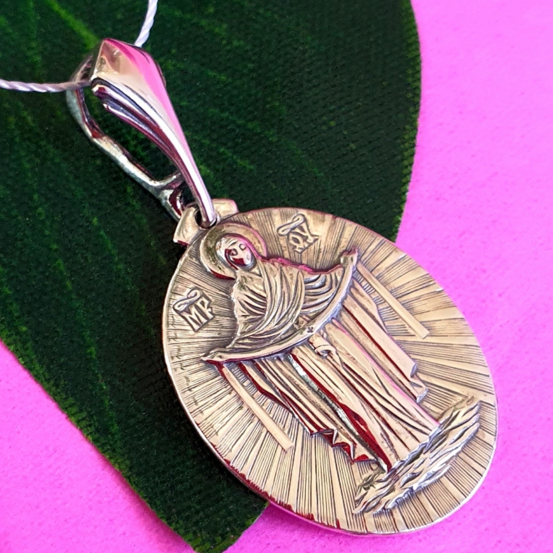 Ладанка иконка Покрова Богородицы - Кулон Покрова Богородицы серебро