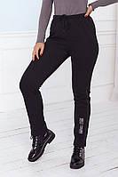 Стильні чорні теплі жіночі трикотажні штани з начосом великих розмірів (р. 48-60). Арт-3803/20, фото 1