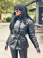 Куртка жіноча екошкіра, куртка коротка екокожа Чорний